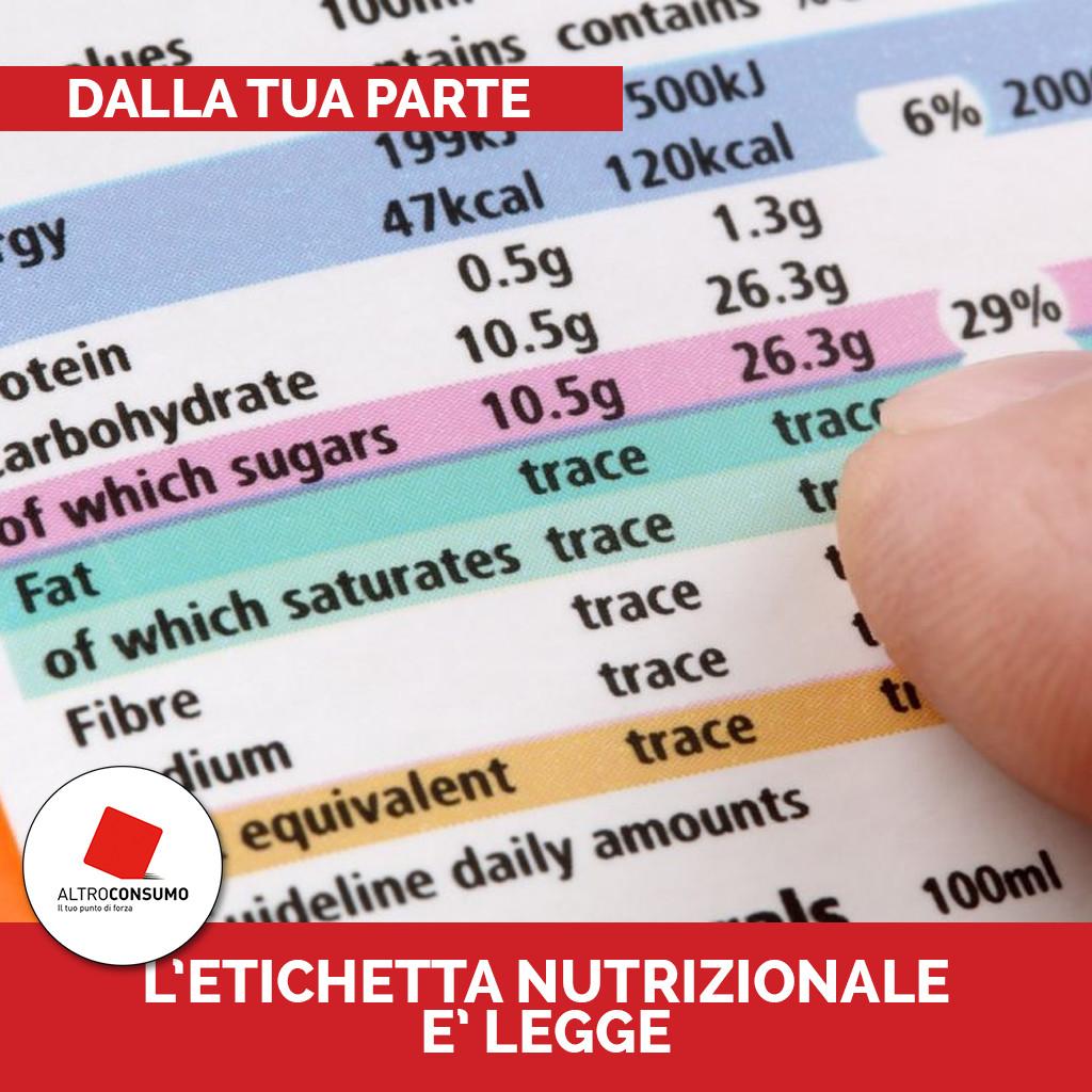 Etichetta Nutrizionale Dalla tua parte