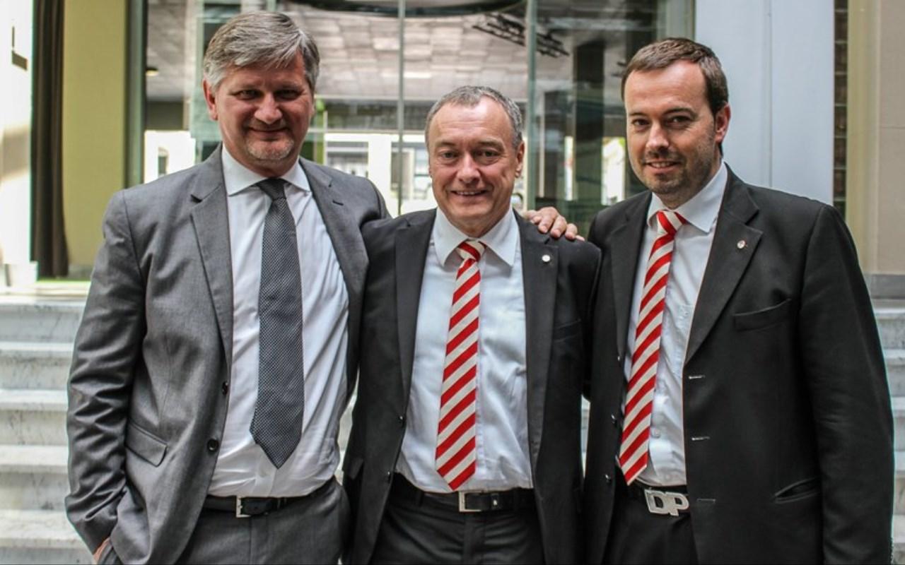 Il Presidente Baumgartner al centro fra il Vice Presidente Roberto Zanin (a sx) e l'Amministrartore Delegato Dietmar Pfeifer