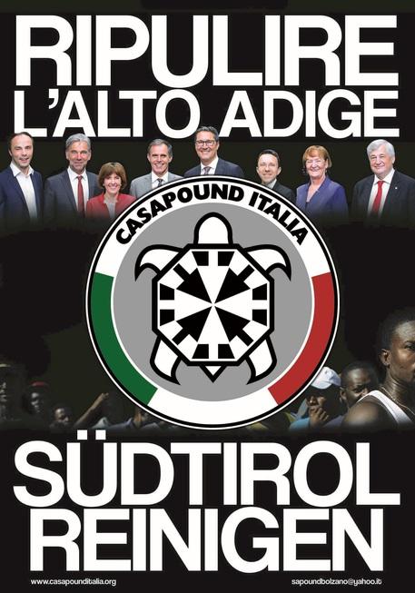 """Manifesto Casapound """"Ripulire l'Alto Adige"""""""