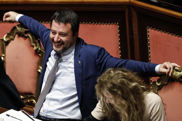 Matteo Salvini, vice premier e ministro dell'Interno, durante il voto di fiducia al Senato sul decreto sicurezza, Roma, 7 novembre 2018. ANSA/RICCARDO ANTIMIANI