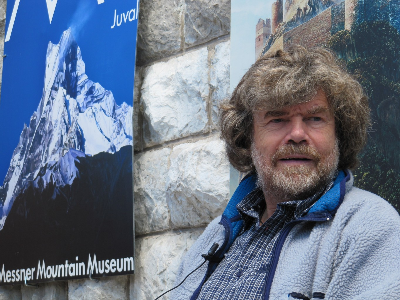 """13669132 - cadore, italy - june 06, 2010 - mountaineer reinhold messner speaks during the seasonal opening of the """"messner mountain museum"""" at the top of mt. rite (dolomites area)"""