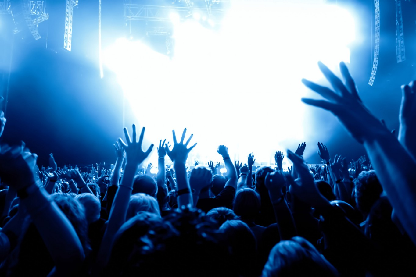 27732848 - silhouettes of concert crowd in front of bright stage lights