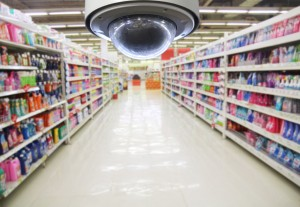 CCTV and blurred supermarket background